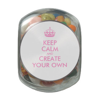 Keep Calm and Carry On Create Your Own | Pink Jelly Belly Candy Jar