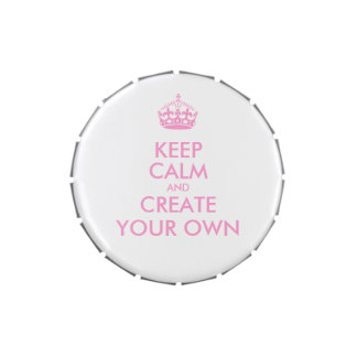 Keep Calm and Carry On Create Your Own | Pink Jelly Belly Candy Tins