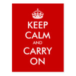 """""""Keep Calm and Carry On"""" - Create your own! Postcards"""
