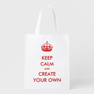 Keep Calm and Carry On Create Your Own   Red Market Tote