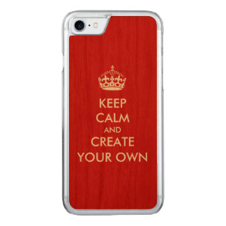 Keep Calm and Carry On Create Your Own | White Red Carved iPhone 7 Case