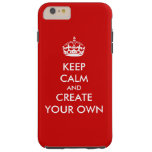 Keep Calm and Carry On Create Your Own | White Red Tough iPhone 6 Plus Case