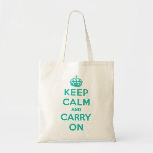 Keep Calm and Carry On Cyan Bag