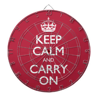 Keep Calm And Carry On. Cyclamen Red Pattern Dart Boards
