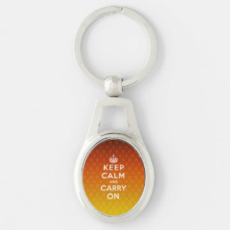 Keep Calm and Carry On damask background Silver-Colored Oval Metal Keychain