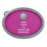 Keep calm and carry on dancing oval belt buckles