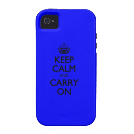 Keep Calm And Carry On - Dark Blue Pattern Case For The iPhone 4