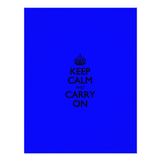 Keep Calm And Carry On - Dark Blue Pattern Customized Letterhead
