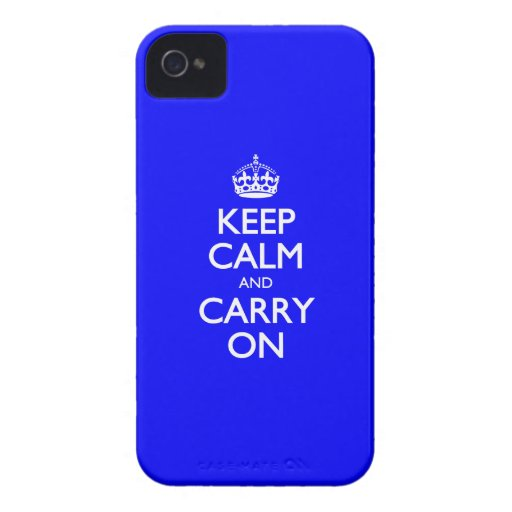 Keep Calm And Carry On - Dark Blue - White Text iPhone 4 Case