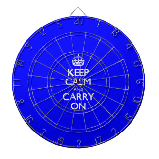 Keep Calm And Carry On - Dark Blue - White Text Dartboard With Darts