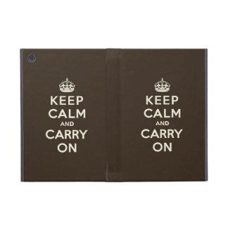 Keep Calm and Carry On Dark Chocolate, Cream Text Covers For iPad Mini