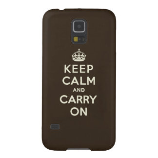 Keep Calm and Carry On Dark Chocolate, Cream Text Galaxy S5 Cases