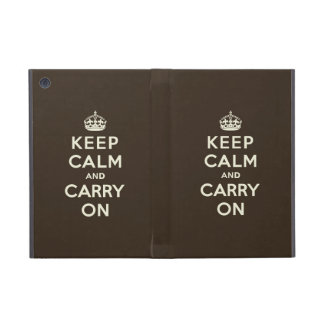 Keep Calm and Carry On Dark Chocolate, Cream Text iPad Mini Cover