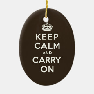 Keep Calm and Carry On Dark Chocolate, Cream Text Christmas Tree Ornament