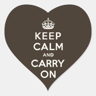 Keep Calm and Carry On Dark Chocolate, Cream Text Heart Sticker