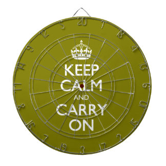 Keep Calm And Carry On. Dark Green Yellow Pattern Dartboard