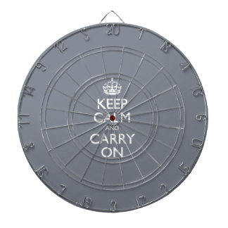 Keep Calm And Carry On. Dark Grey Pattern Dart Boards