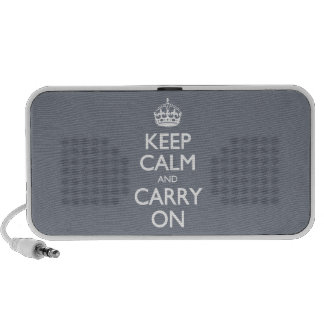 Keep Calm And Carry On. Dark Grey Pattern Mini Speaker
