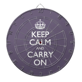 Keep Calm And Carry On. Dark Lilac Pattern Dart Boards