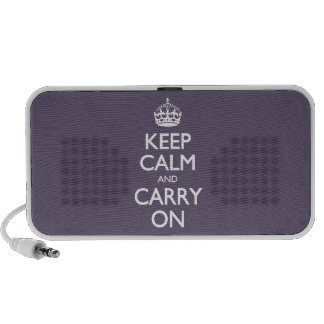Keep Calm And Carry On. Dark Lilac Pattern Mini Speaker