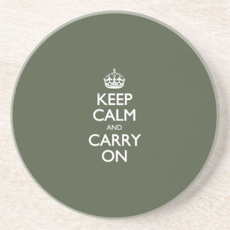 Keep Calm And Carry On. Dark Olive Green Pattern Coasters