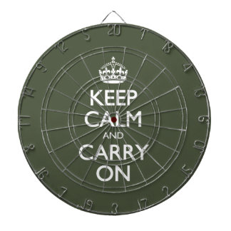 Keep Calm And Carry On. Dark Olive Green Pattern Dart Boards