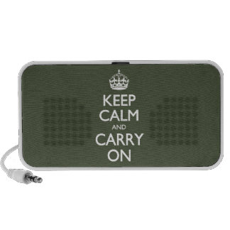 Keep Calm And Carry On. Dark Olive Green Pattern Travel Speaker