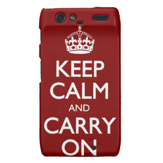 Keep Calm And Carry On. Dark Red Pattern Motorola Droid RAZR Case