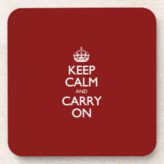 Keep Calm And Carry On. Dark Red Pattern Drink Coasters