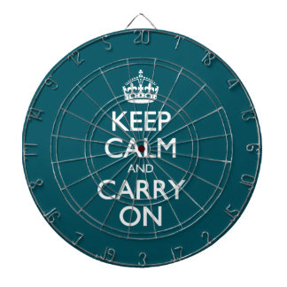 Keep Calm And Carry On. Dark Teal Pattern Dartboards