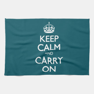 Keep Calm And Carry On. Dark Teal Pattern Hand Towel