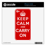 Keep Calm and Carry On Decals For iPhone 4