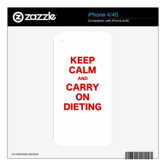Keep Calm and Carry On Dieting Decals For iPhone 4S