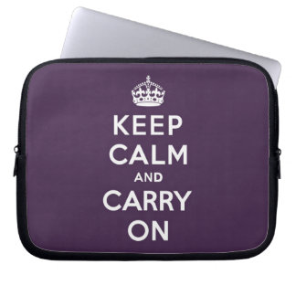 Keep Calm and Carry On Dioxazine Purple Computer Sleeve