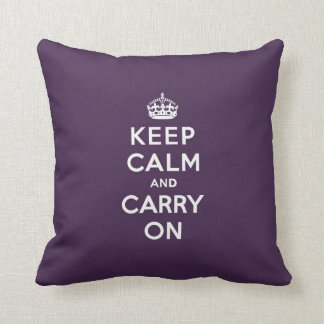 Keep Calm and Carry On Dioxazine Purple Pillows