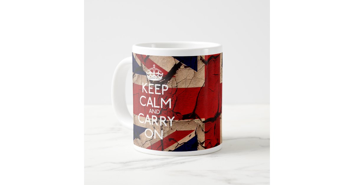 Keep Calm And Carry On Dirty Vintage Uk Large Coffee Mug Zazzle Com