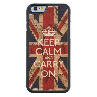 Keep Calm And Carry On Dirty Vintage UK Carved® Maple iPhone 6 Bumper