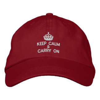 Keep calm and carry on embroidered baseball hat