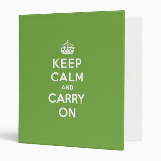 Keep Calm and Carry On Emerald Green 3 Ring Binder