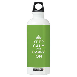 Keep Calm and Carry On Emerald Green Aluminum Water Bottle