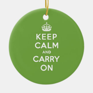 Keep Calm and Carry On Emerald Green Ceramic Ornament
