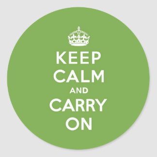 Keep Calm and Carry On Emerald Green Classic Round Sticker