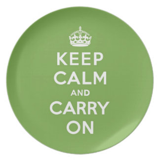 Keep Calm and Carry On Emerald Green Dinner Plate