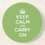 Keep Calm and Carry On Emerald Green Drink Coaster