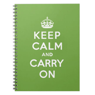 Keep Calm and Carry On Emerald Green Spiral Note Books