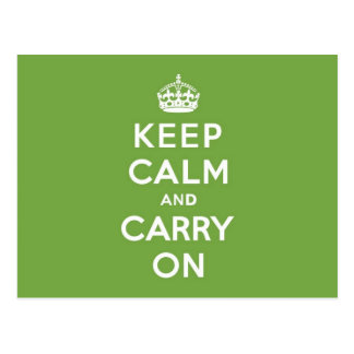 Keep Calm and Carry On Emerald Green Postcard