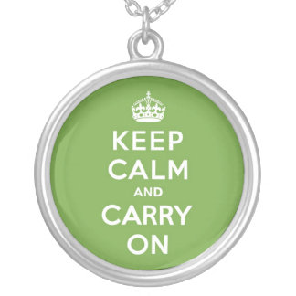 Keep Calm and Carry On Emerald Green Silver Plated Necklace
