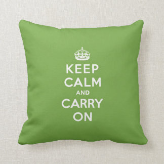 Keep Calm and Carry On Emerald Green Throw Pillow