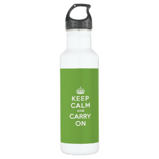 Keep Calm and Carry On Emerald Green Water Bottle