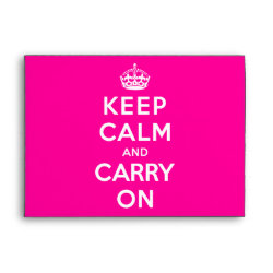 A7 Greeting Card Envelope with Keep Calm and Carry On (Magenta) design